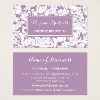 Cartes De Visite Esthéticien certifié Girly floral pourpre moderne