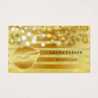 Cartes De Visite Esthéticien d'or de maquilleur de rayures d'or de