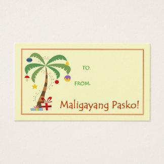 Cartes De Visite Étiquette de cadeau de Maligayang Pasko - palmier