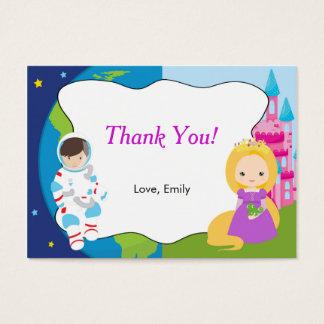 Cartes De Visite Étiquette d'étiquette de Merci de princesse Kids