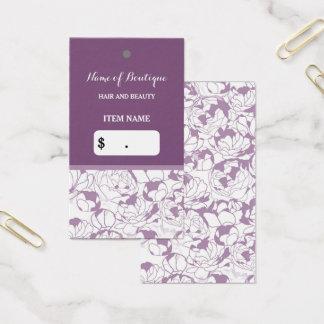 Cartes De Visite Étiquette Girly florale pourpre moderne de coup de