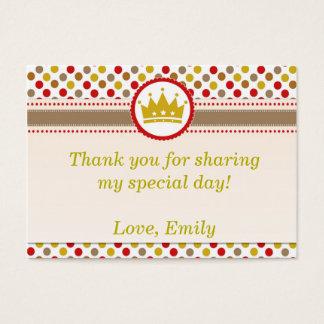 Cartes De Visite Étiquette ou étiquette de Merci de prince Favor