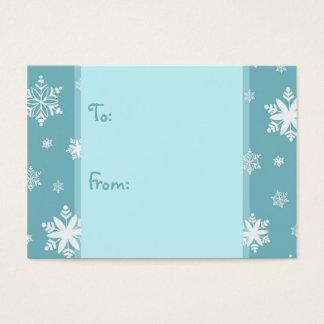 Cartes De Visite Étiquettes de cadeau de neige de turquoise de