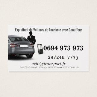 Cartes De Visite Exploitant de Voitures de Transport avec Chauffeur