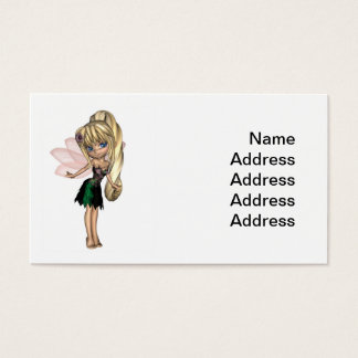 Cartes De Visite Fée mignonne de Toon dans la robe verte et pourpre