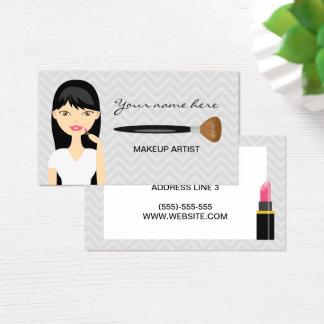 Cartes De Visite Femme avec le long maquilleur noir de cheveux