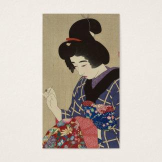 Cartes De Visite Femme cousant, Itō Shinsui - bois de graveur