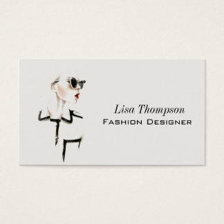 Cartes De Visite Femme en verre de noir de femme de couturier