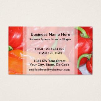 Cartes De Visite Fermez-vous principalement des poivrons d'un rouge
