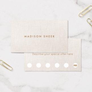 Cartes De Visite Fidélité beige simple de client de poinçon de la