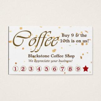 Cartes De Visite Fidélité de café de confettis d'or