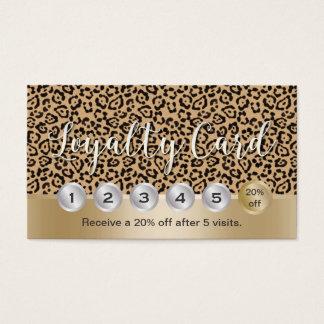 Cartes De Visite Fidélité moderne de léopard de coiffeur de