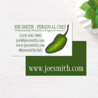 Cartes De Visite Fin gourmet vert de restaurant de chef de piment