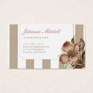 Cartes De Visite Fleur florale de cornouiller de la rayure | de