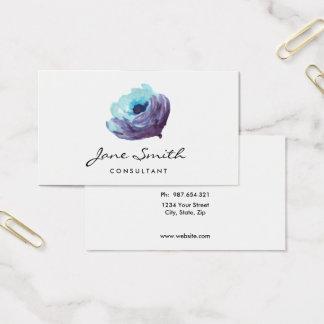 Cartes De Visite Fleur pourpre bleue d'aquarelle, assez