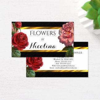 Cartes De Visite Fleuriste floral d'or vintage de Botanicals BW |