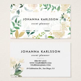 Cartes De Visite Fleurs d'aquarelle avec le scintillement et