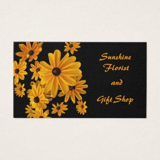 Cartes De Visite Fleurs jaunes et noires fleuriste et boutique de