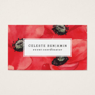Cartes De Visite Fleurs rouges d'aquarelle des pavots  