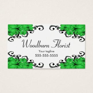 Cartes De Visite Fleurs vertes et noires élégantes