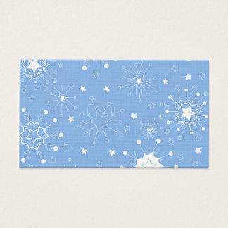 Cartes De Visite Flocons de neige de vacances sur le bleu