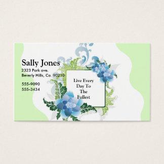 Cartes De Visite Floral bleu et vert sur vert en bon état et le