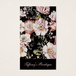 Cartes De Visite Floral noir chic minable de pays de Bohème de très