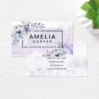 Cartes de visite floraux Girly d'aquarelle