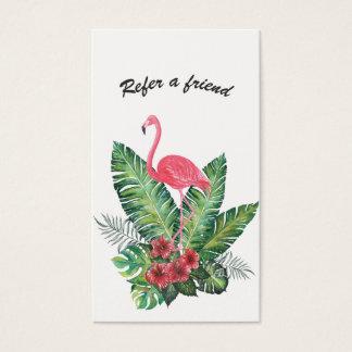 Cartes De Visite Floraux tropicaux de flamant rose se réfèrent un
