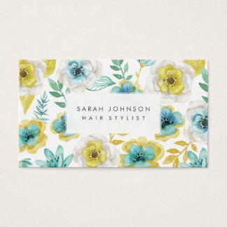 Cartes de visite floraux turquoises de coiffeur