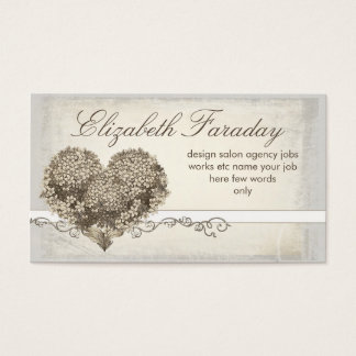 cartes de visite floraux vintages de coeur d'amour