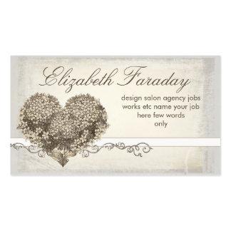 cartes de visite floraux vintages de coeur d'amour carte de visite standard