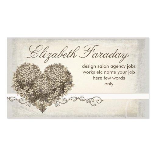 cartes de visite floraux vintages de coeur d'amour cartes de visite professionnelles