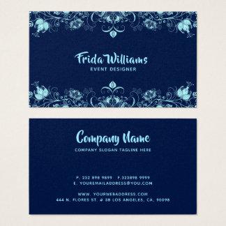 Cartes De Visite Frontière élégante bleu ciel de fleurs