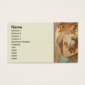 Cartes De Visite Fruit de femme de Nouveau Mucha d'art beau