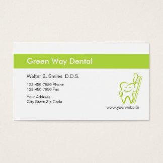 Cartes de visite gais de dentiste