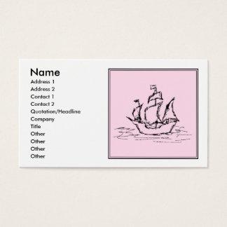 Cartes De Visite Galion de bateau de pirate. Noir et rose