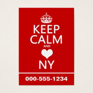 Cartes De Visite Gardez le calme et le coeur New York (les couleurs
