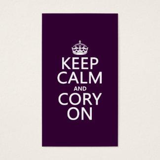 Cartes De Visite Gardez le calme et le Cory sur (toute couleur)