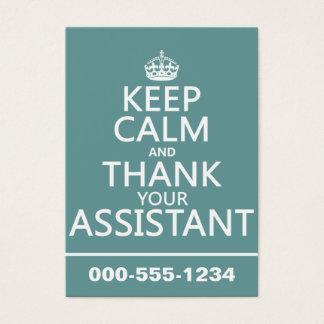 Cartes De Visite Gardez le calme et remerciez votre assistant -