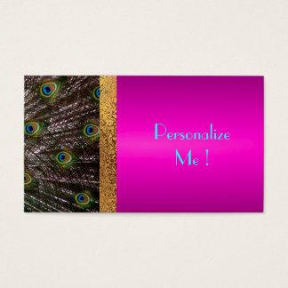 Cartes De Visite Girly à la mode chic de paon rose/Maison-de-Grosch