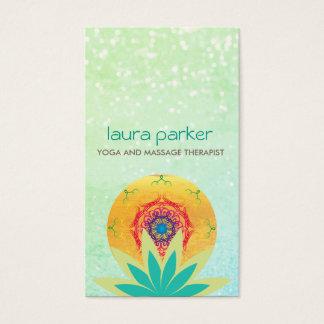 Cartes De Visite Guérison verte de yoga de logo de mandala de fleur