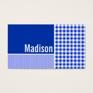 Cartes De Visite Guingan bleu ; Checkered