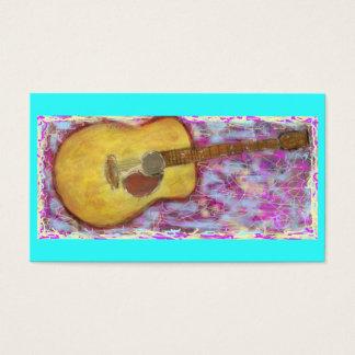 Cartes De Visite guitare acoustique avec la patine jaune