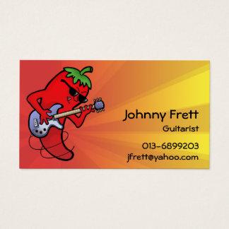 Cartes De Visite Guitariste d'un rouge ardent de piments