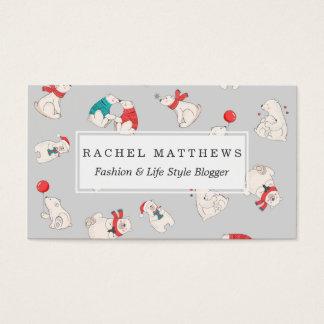 Cartes De Visite Illustrations de vacances de Noël d'hiver d'ours