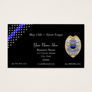 Cartes De Visite Insigne mince de bannière étoilée de Blue Line
