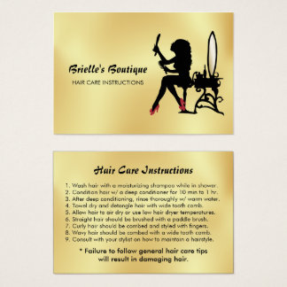 Cartes De Visite Instructions de soins capillaires fascinantes de