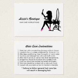 Cartes De Visite Instructions de soins capillaires Girly de fille