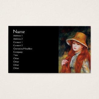 Cartes De Visite Jeune fille dans un chapeau de paille par Renoir